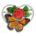 Monarch Butterfly and Rose in Heart