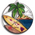Palm Tree and Surfboard with State of Hawaii