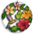 Hummingbird with Hibiscus and Plumeria - med