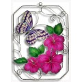 Pink Butterfly in Rectangle with Hibiscus